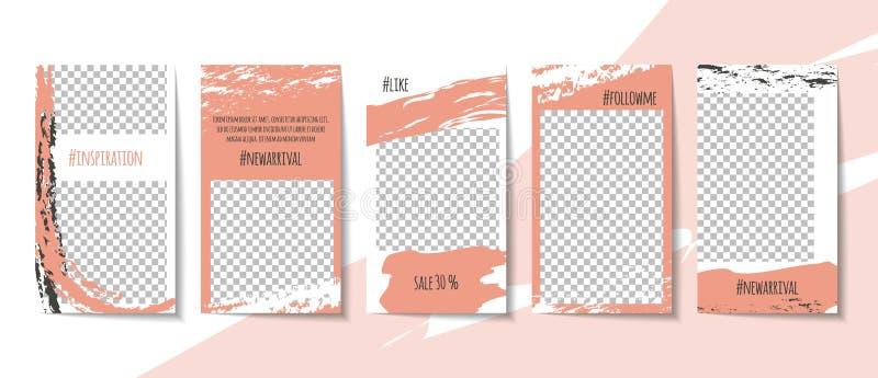 Editable social media stories templates set. Simple minimalistic brush mark design in pink pastel color theme vector illustration