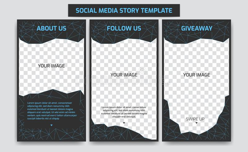 Editable Social media Instagram story design template in neon futuristic cyber blue retro virtual world with abstract polygon line. Editable Instagram story vector illustration