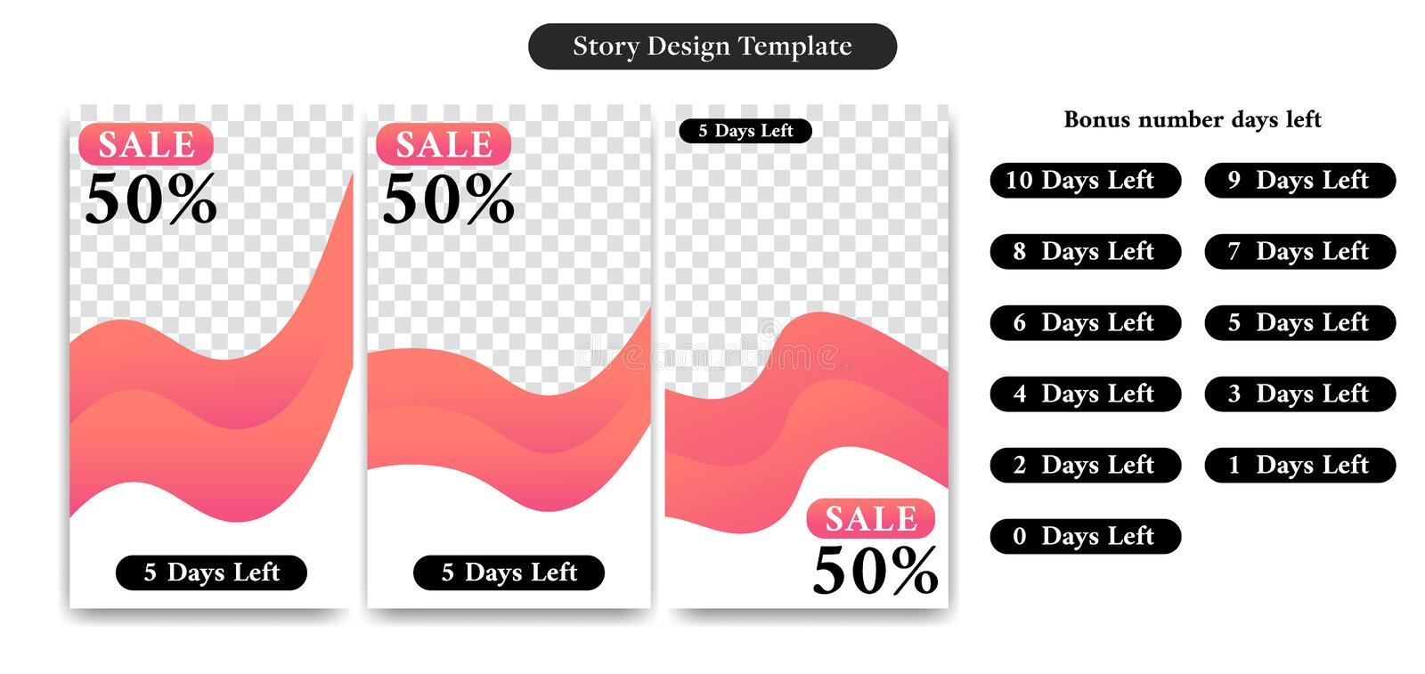 Editable Social media story design template for sale discount, ad, promotion, banner, flyer with number days left in trendy curve vector illustration