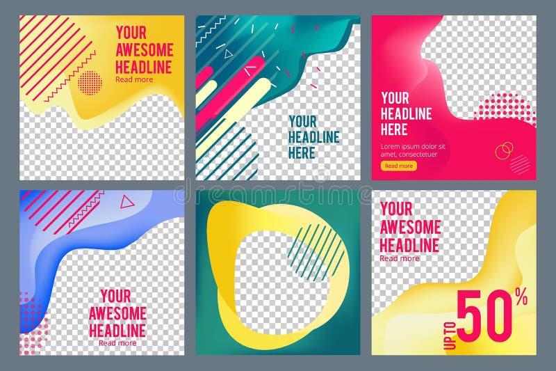 Editable sociale banners De eenvoudige het Webmedia van Web visuele aanbiedingen stellen het vierkante malplaatje van bedrijfsban vector illustratie