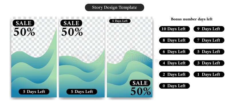 Editable Sociale media verhaalontwerpsjabloon voor verkoopkorting, advertentie, bevordering, banner, vlieger met aantaldagen verl royalty-vrije illustratie