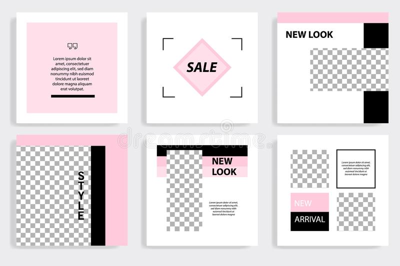 Editable black and pink square abstract geometric banner template for social media post royalty free illustration