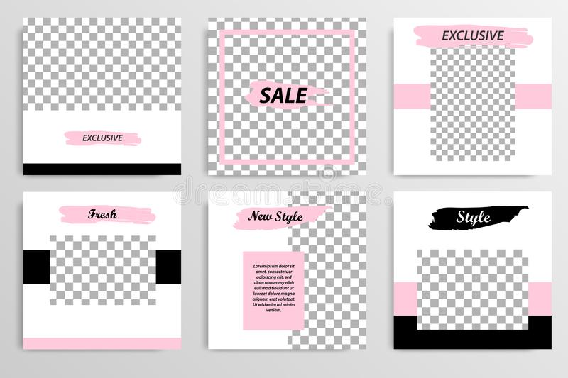 Editable black and pink square abstract geometric banner template for social media post vector illustration
