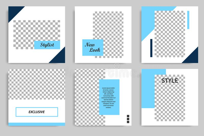 Blue geometric shape square banner template for social media post stories and story cover vector illustration