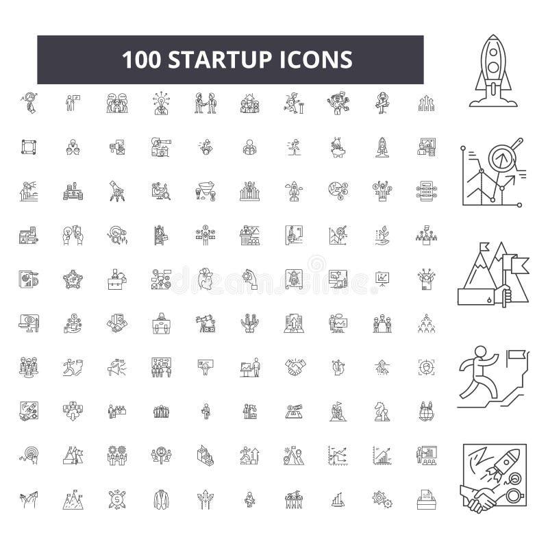 Editable Startlinie Ikonen, Satz mit 100 Vektoren, Sammlung Schwarze Entwurfsstartillustrationen, Zeichen, Symbole vektor abbildung
