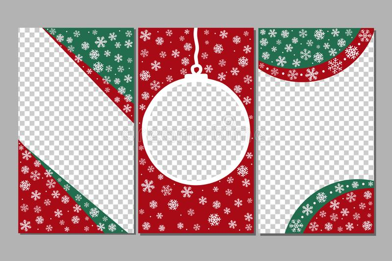 Editable Stories templates - xmas set.Fun in with snowflakes and Christmas tree toy. royalty free illustration