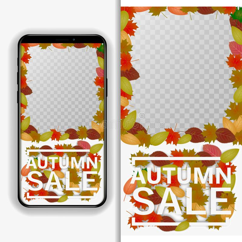 Editable story cover design for photos Bright fall leaves. Poster, card, label, banner design. Bright geometrical background. Vect. Autumn sale flyer template stock illustration