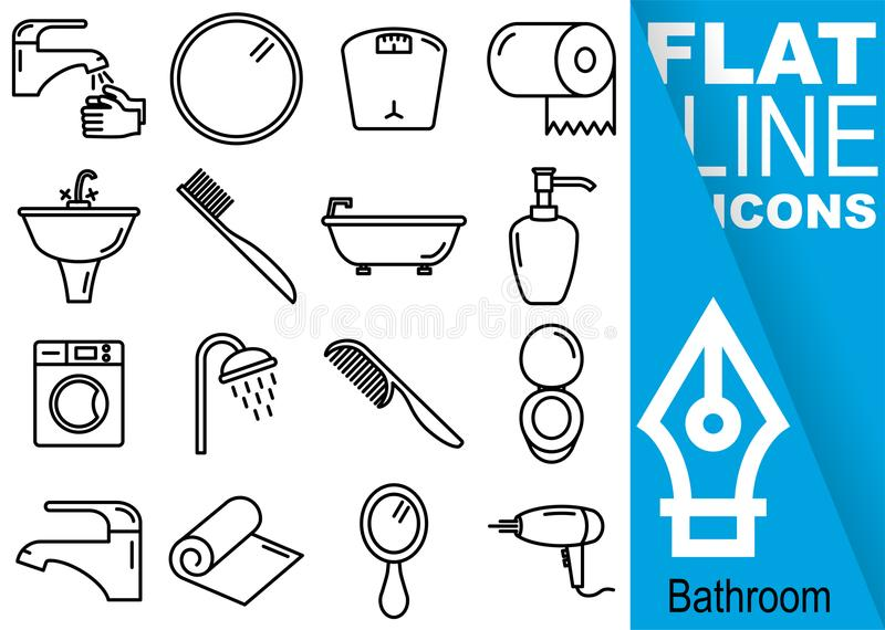Editable stroke 70x70 pixel. Simple Set of bathroom vector sixteen flat line Icons with vertical banner - hands, mirror, weight, t. Oilet paper, washbasin royalty free illustration