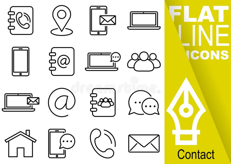 Editable stroke 70x70 pixel. Simple Set of contact vector sixteen flat line Icons with vertical yellow banner - directory, map, sm. S, notebook, smartphone royalty free illustration