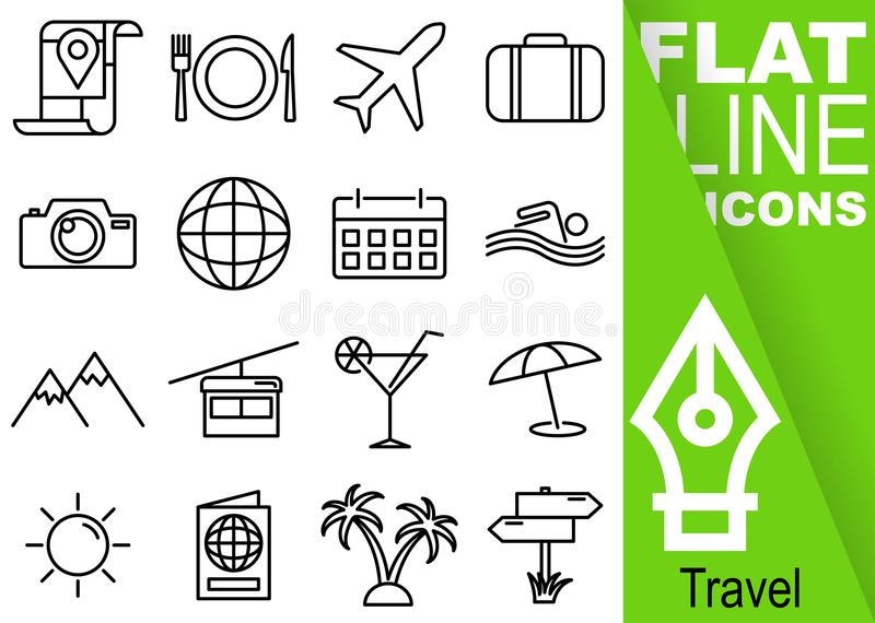 Editable stroke 70x70 pixel. Simple Set of travel vector sixteen flat line Icons with vertical green banner - map, food, airplane,. Suitcase, camera, planet stock illustration