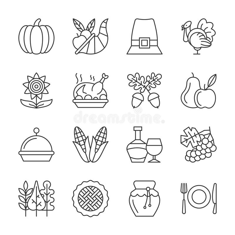 Editable stroke Thanksgiving day line icon set. Thanksgiving day thin line icon set. Vector linear symbol pack. Outline sign without fill. Editable stroke stock illustration