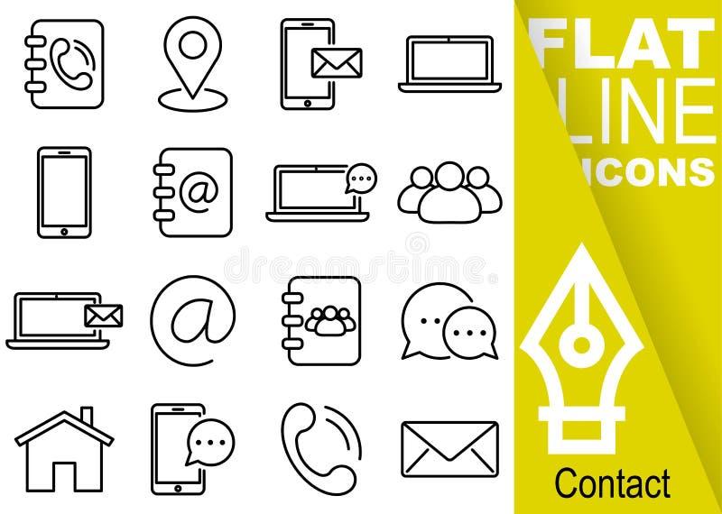 Editable uderzenia 70x70 piksel Prosty set kontaktowego wektoru szesnaście mieszkania kreskowe ikony z pionowo żółtym sztandarem  royalty ilustracja