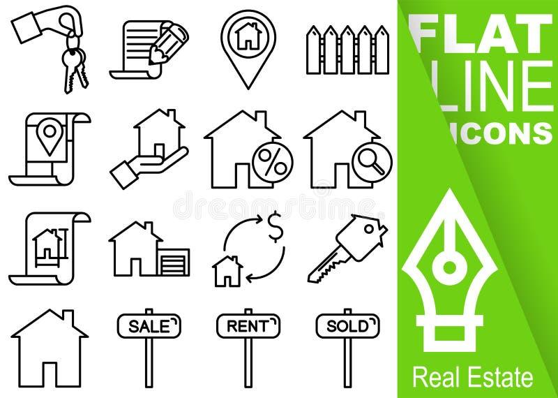Editable uderzenia 70x70 piksel Prosty set nieruchomość wektoru szesnaście mieszkania kreskowe ikony z vertical zieleni sztandare ilustracja wektor