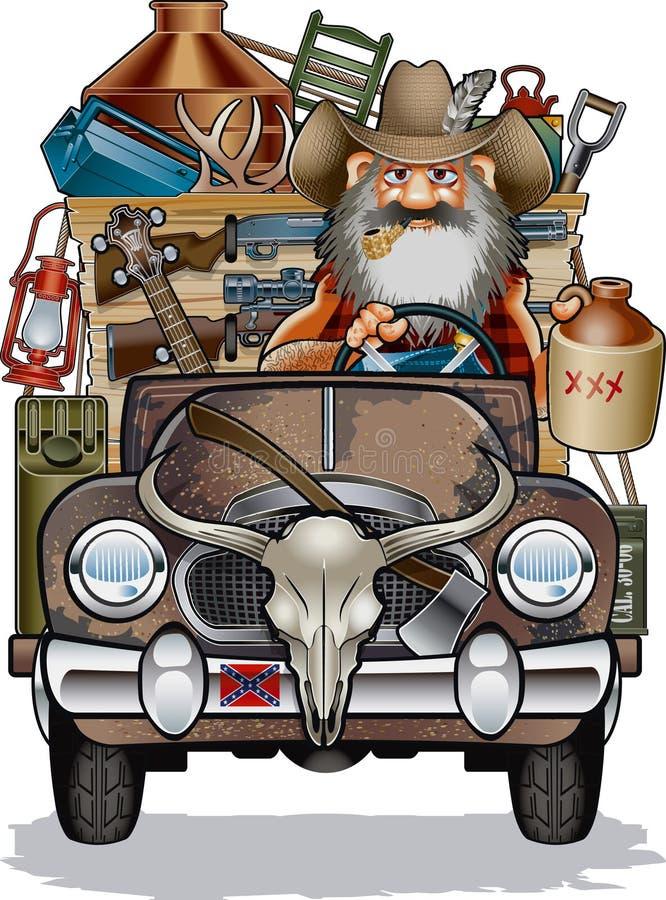 Cartoon of hillbilly driving rusty pick up truck royalty free illustration