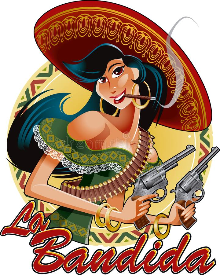 Mexican girl with pistols and the text `The bandit`. Editable vector illustration of mexican girl with pistols and the text `The bandit` vector background stock illustration