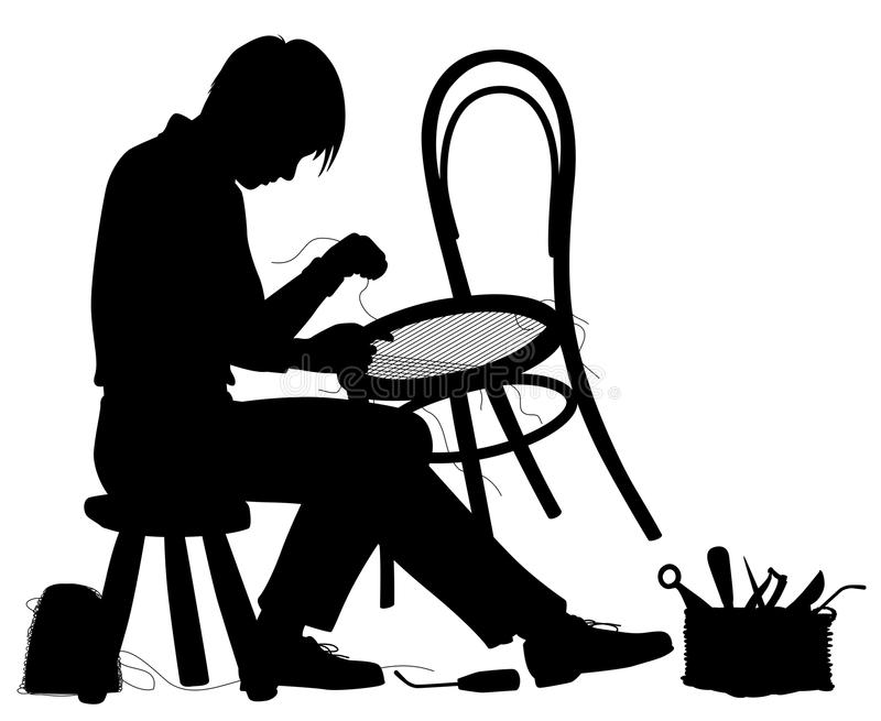 Chair maker silhouette royalty free illustration