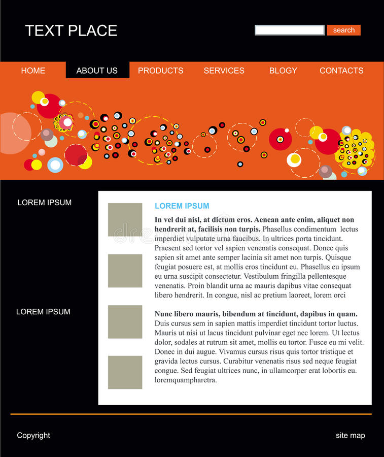 Editable vector web site template. Web site layout template vector stock illustration