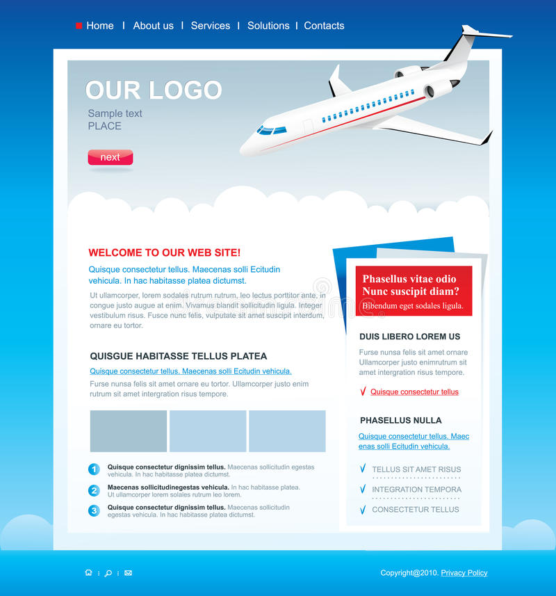 Download Editable Web Site Template With Passenger Airplane Stock Vector - Image: 15760468