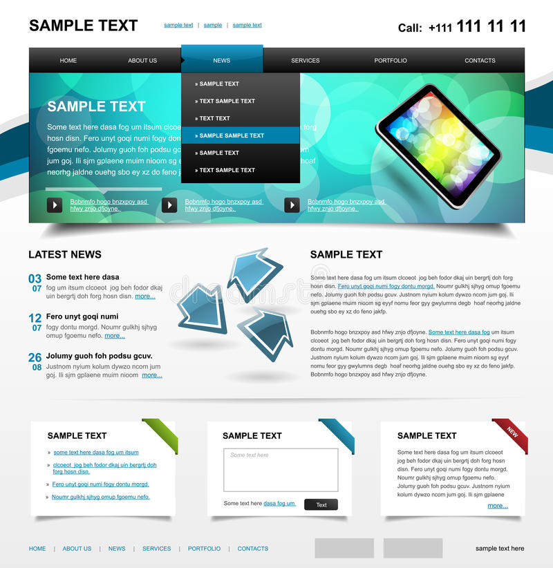 Download Editable Website Template 4. Color Variant 1 Stock Vector - Image: 24979839
