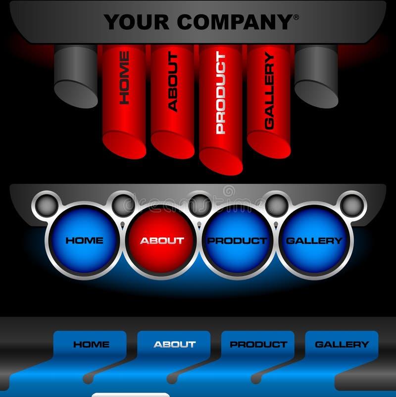 Editable website vector buttons stock photos