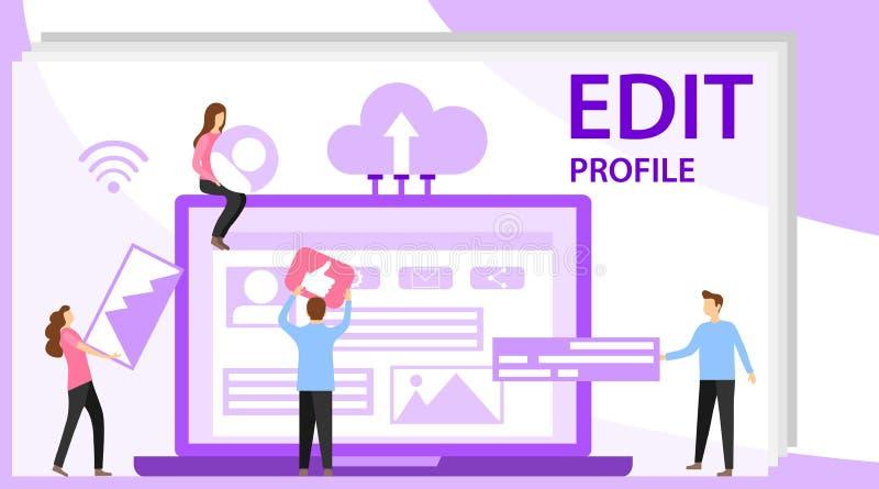 Editando um perfil em meios sociais Espaço de trabalho para trabalhadores, relação para construir ideias, criar o perfil móvel ou ilustração royalty free