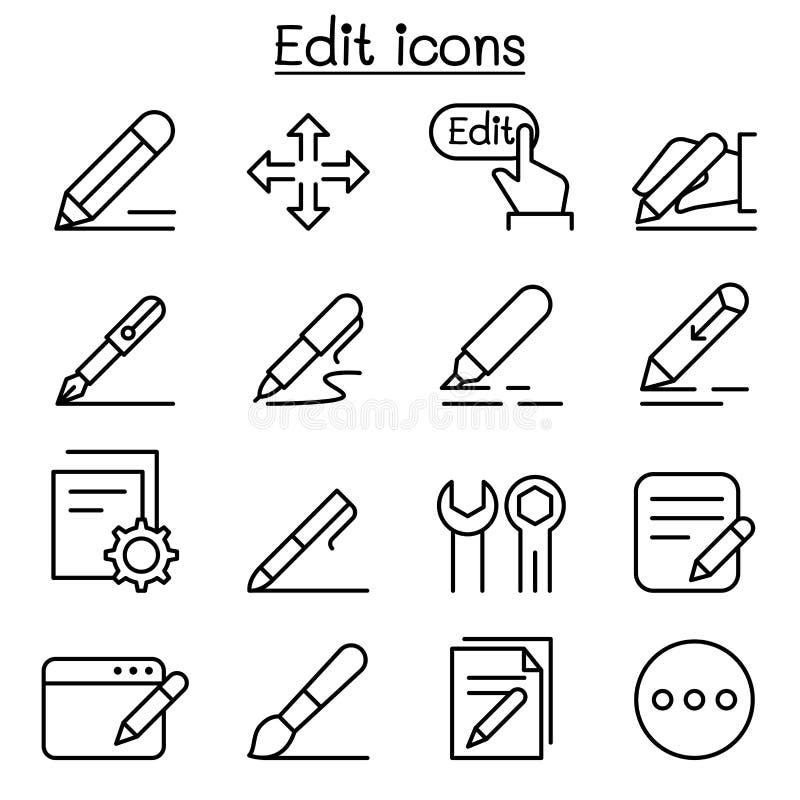 Edite o ícone ajustado na linha estilo fina ilustração do vetor