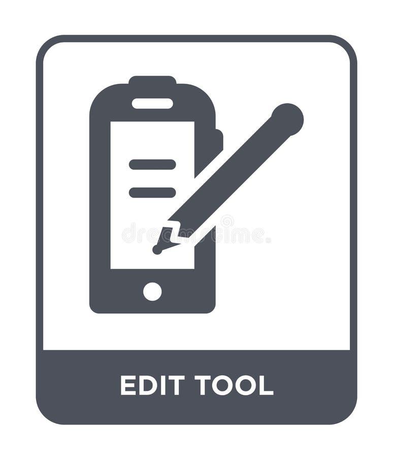 edite o ícone da ferramenta no estilo na moda do projeto E edite o plano simples e moderno do ícone do vetor da ferramenta ilustração stock