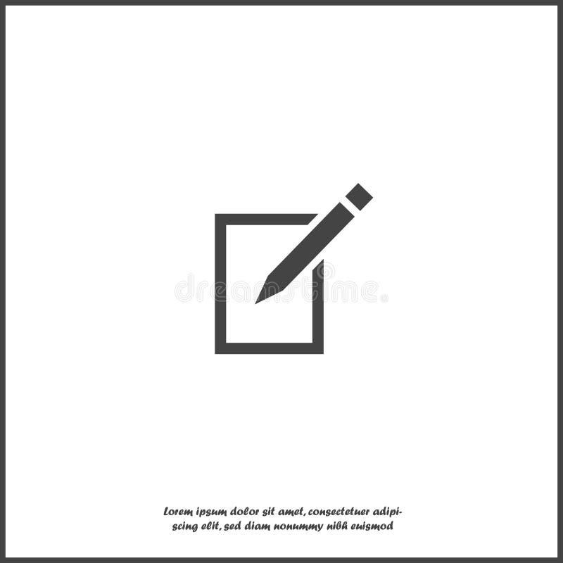 Edite o ícone do vetor no fundo isolado branco Documente o lápis para editar Camadas agrupadas para a ilustra??o f?cil da edi??o ilustração stock