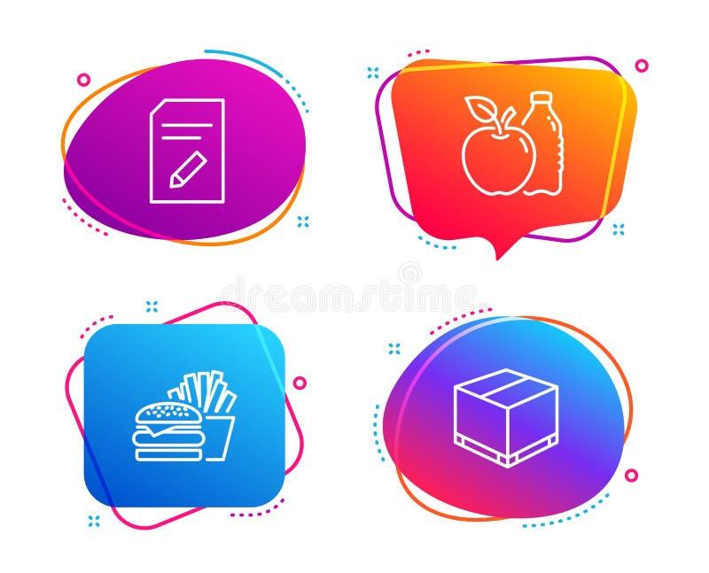 Edite o grupo do documento, dos ícones do hamburguer e do Apple Sinal da caixa da entrega Página com lápis, cheeseburger, aliment ilustração stock