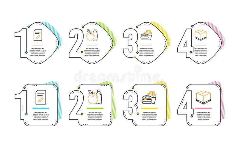 Edite o grupo do documento, dos ?cones do hamburguer e do Apple Sinal da caixa da entrega P?gina com l?pis, cheeseburger, aliment ilustração stock
