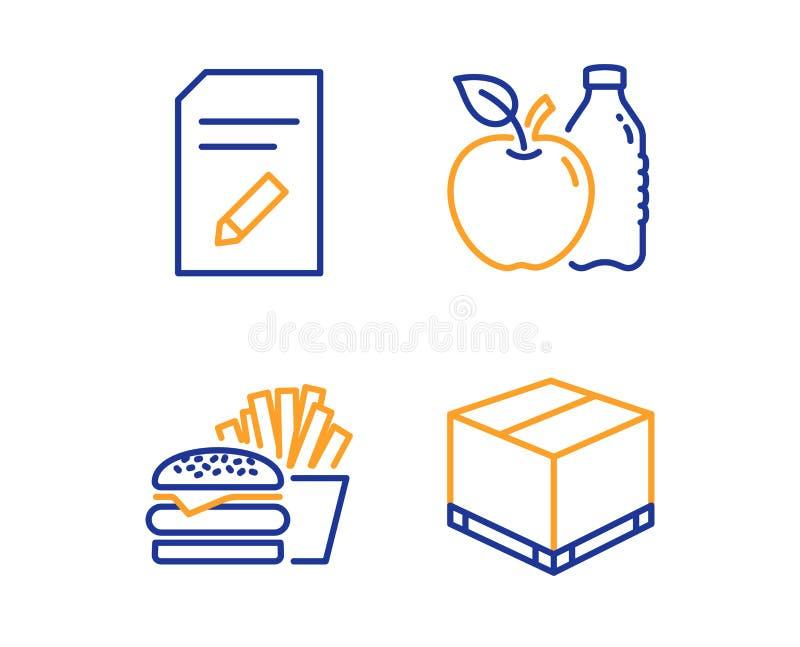Edite o grupo do documento, dos ?cones do hamburguer e do Apple Sinal da caixa da entrega P?gina com l?pis, cheeseburger, aliment ilustração royalty free