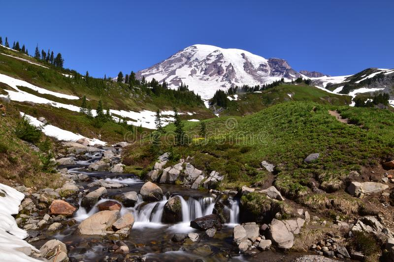 Edith Creek at Myrtle Falls at Mt Rainier above Paradise royalty free stock images