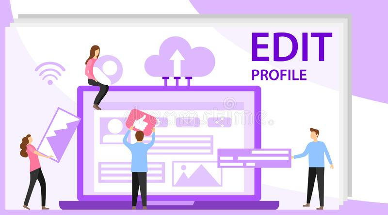 Editing a profile in social media. Workspace for workers, interface to build ideas, create mobile profile or customer royalty free illustration