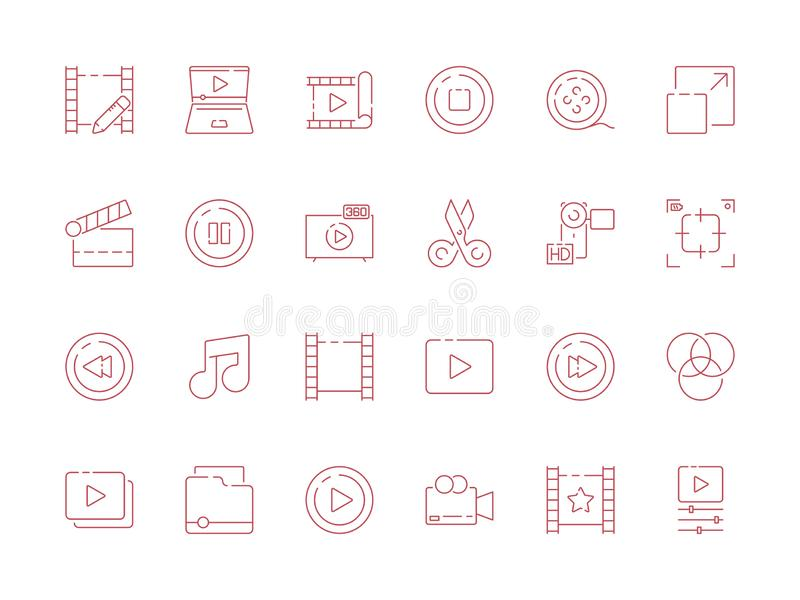 Editing video. Digital film production audio camera multimedia tools vector outline symbols isolate royalty free illustration