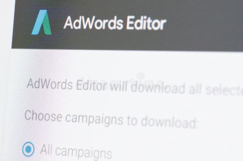 Editor dos adwords de Google fotos de stock