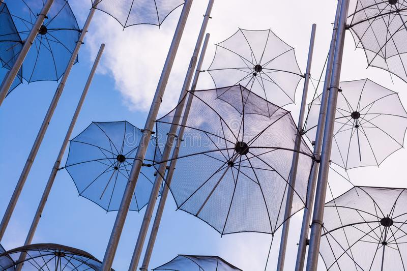 Editorial. April 2019. THESSALONIKI, GREECE. The installation of umbrellas in Thessaloniki is a symbol of the city stock image