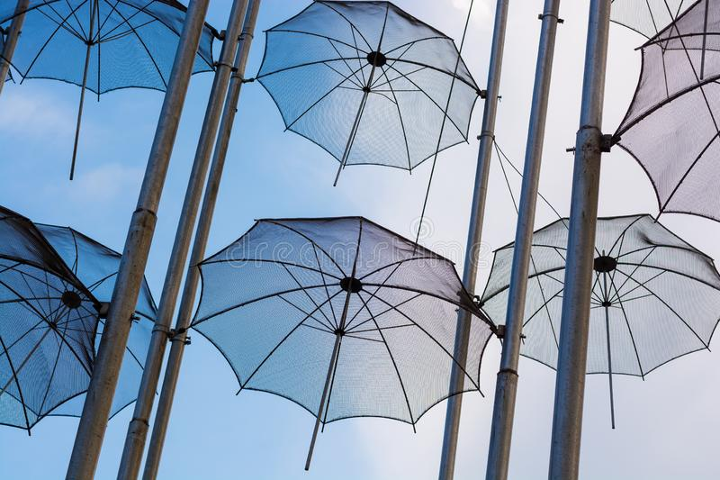 Editorial. April 2019. THESSALONIKI, GREECE. The installation of umbrellas in Thessaloniki is a symbol of the city. Installation of umbrellas in the sky royalty free stock image