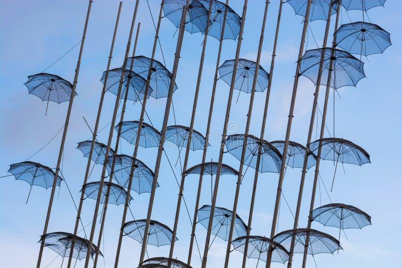 Editorial. April 2019. THESSALONIKI, GREECE. The installation of umbrellas in Thessaloniki is a symbol of the city. Installation of umbrellas in the sky royalty free stock photo