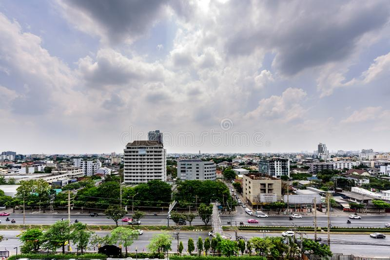 Editorial: Bangkok Thailand, 3rd May 2019. The city and road with blue sky and cloudy at Bangkok, Thailand stock images