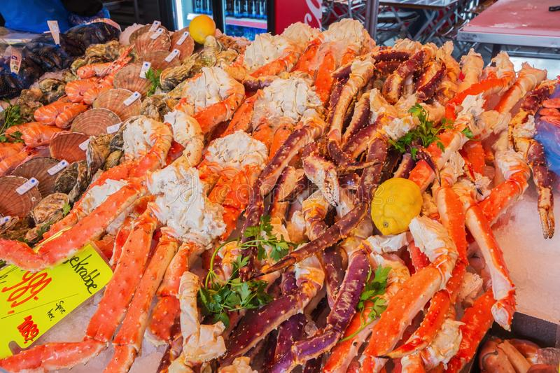 Catch of the day. Editorial: BERGEN, HORDALAND, NORWAY, June 10, 2018 - Catch of the day at the fish market in Bergen. Selective focus on the foreground royalty free stock photo