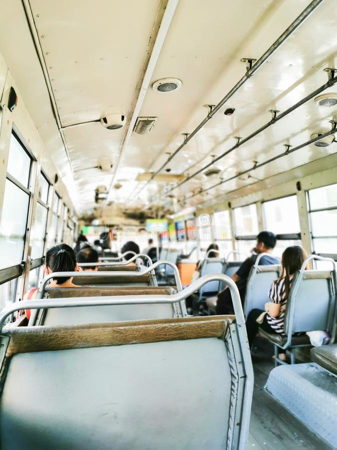 Editorial: BMTA Bus, Bangkok, Thailand, 2nd September 2019. Thai people on BMTA bus of Thailand in the morning. Asia, asian, automobile, brown, business, car stock image