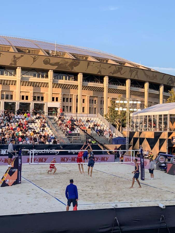 EDITORIAL Euro Beach volleyball 2019 Gold Medal Match 11 august 2019 Russia - Norvey telephone shoot stock image