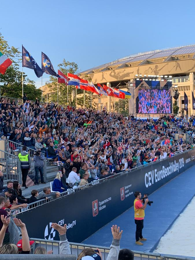 EDITORIAL Euro Beach volleyball 2019 Gold Medal Match 11 august 2019 Russia - Norvey telephone shoot royalty free stock photography