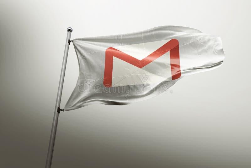 Editorial fotorrealista de la bandera de Gmail libre illustration