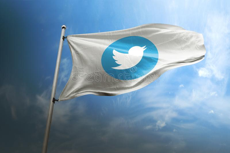 Editorial fotorrealista de la bandera de Twitter foto de archivo libre de regalías