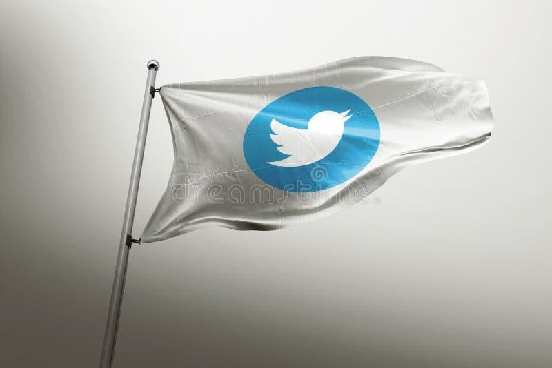 Editorial fotorrealista de la bandera de Twitter ilustración del vector