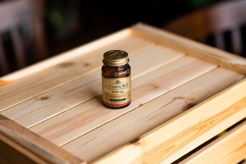 Editorial - garrafa da vitamina de Solgar B12 foto de stock