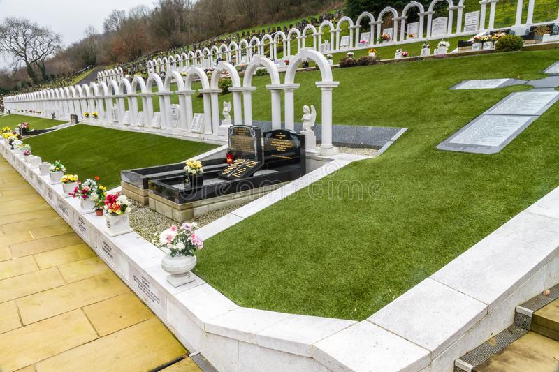 Editorial, Graves of victims of the Aberfan Disaster, landscape royalty free stock photography