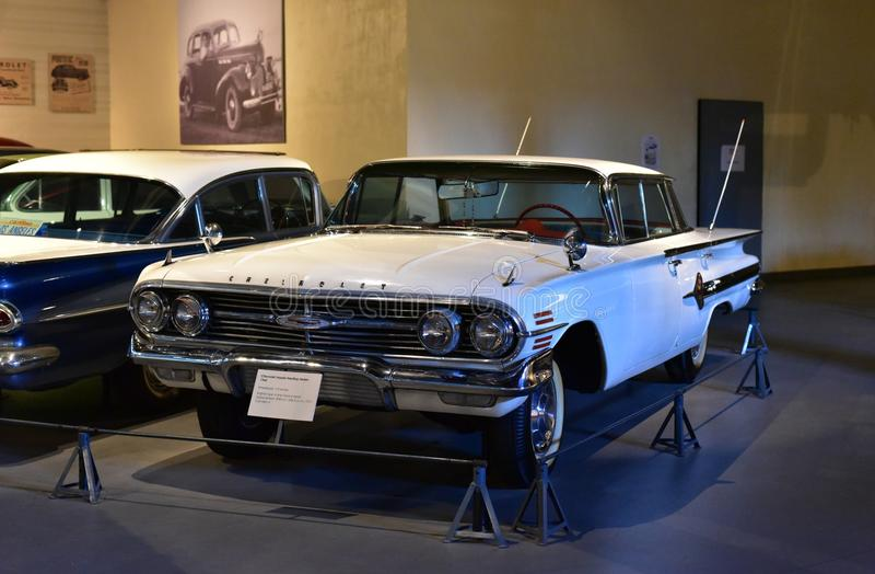 Editorial: Gurgaon, Haryana, India: April 09th, 2016: Shining Chevrolet Impala classic car in Heritage transport Museum in Gurgaon royalty free stock image