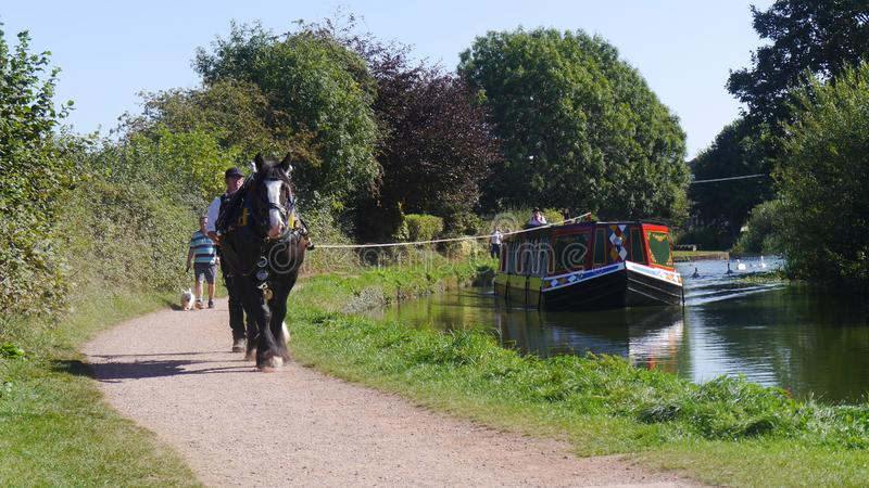 Editorial only. Horse Drawn Barge on The Grand Western Canal Tiverton in England stock photos